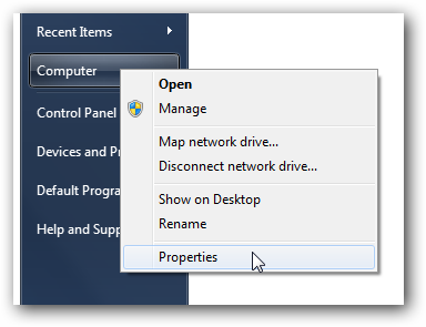 Windows 7 computer properties
