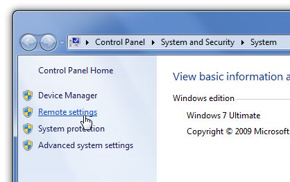 Windows 7 remote settings